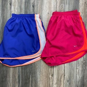 Lot of two Nike dri-fit running shorts pink purple